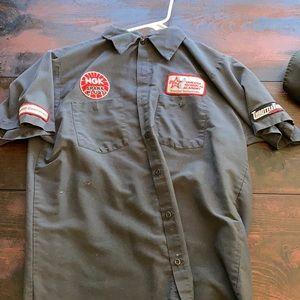 NGK spark plugs Yamaha shop work shirt